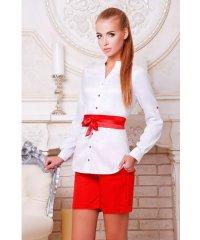 блуза Киола д/р белый-красная отделка