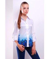 Синие лилии блуза Ларси д/р белый