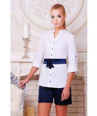 блуза Киола д/р белый-т.синяя отделка