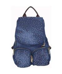 Рюкзак №859 джинс Синий с коричневым