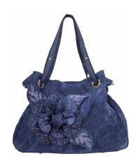 Сумка женская №8258-2 цветок джинс Синий
