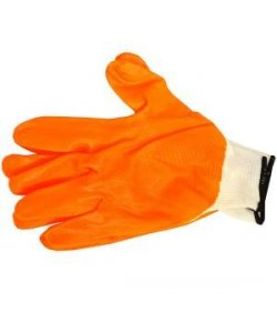 Перчатки рабочие с оранжевым обливом