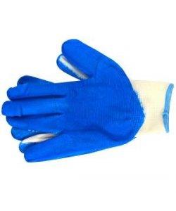Перчатки рабочие с синим обливом